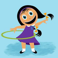 Cute hula hoop girl | Retro animation loop from 'H is for Healthy' | Sesame Street Illustration + design by Robert Grieves / BERT Animation