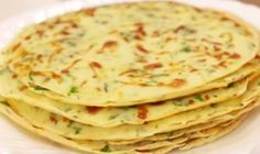 Cheese pancakes with herbs. Ingredients: 200 g flour; 50 ml of vegetable oil; 300 ml of water; 1 clove of garlic; 1 small bunch of green; Czech Recipes, Russian Recipes, Ethnic Recipes, Veggie Recipes, Cooking Recipes, Healthy Recipes, Drink Recipe Book, Healthy Cook Books, Good Food