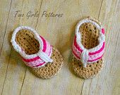 Crochet Pattern for Sporty Flip Flop Baby Sandals - Crochet pattern number 116 - Instant Download