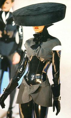 Leather and velvet suit - This suit is avante-garde because its not anything someone would just wear, its more of a strange statement.