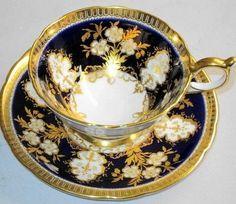 AYNSLEY GLITTER GOLD COBALT BLUE TEA CUP AND SAUCER 249.00