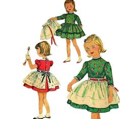 Simplicity 3250 1950s Girls Dress and Apron Pattern Childs Vintage Sewing Pattern Size 6 Breast 24