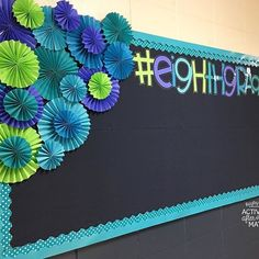 Activity After Math with Hayley Cain: Easy tutorial on making DIY paper rosettes Creative Bulletin Boards, Bulletin Board Paper, Bulletin Board Borders, Back To School Bulletin Boards, Classroom Board, Classroom Bulletin Boards, Classroom Displays, Classroom Decor, Classroom Supplies