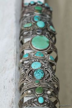 Beautiful vintage turquoise cuffs..☮♥♓
