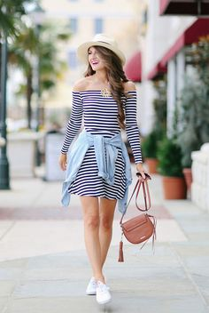 summer outfit, summer fashion, street style, casual outfit, comfy outfit, beach outfit, travel outfit, vacation outfit, getaway outfit - striped off shoulder dress, chambray shirt, straw fedora, white sneakers, brown shoulder bag
