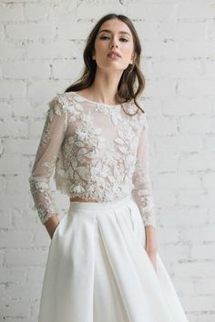 This Bridal Lace Top Bridal Separates Long Sleeve Wedding Top is just one of the custom, handmade pieces you'll find in our bridal gowns & separates shops. Two Piece Wedding Dress, Dream Wedding Dresses, Bridal Dresses, Wedding Gowns, Wedding Lace, Trendy Wedding, Lace Bride, Wedding Dress Crop Top, Lace Wedding Dress Topper