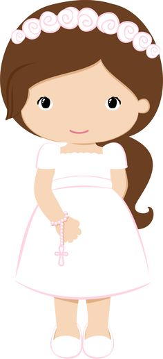 Nice Girls in Pink for their First Communion. This images will help you for doing decorations, invitations, toppers, cards and any. First Communion Decorations, Baptism Cookies, Cute Clipart, First Holy Communion, Cute Images, Kirchen, Paper Dolls, Christening, Hello Kitty