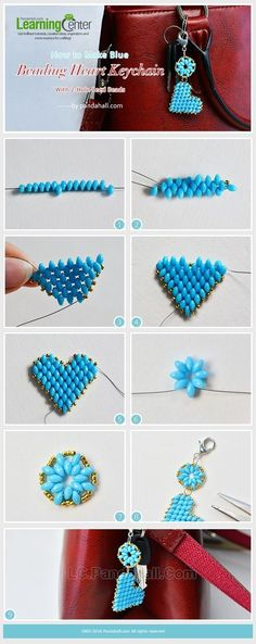 How to Make Blue Beading Heart Keychain with 2-Hole Seed Beads from LC.Pandahall.com | Jewelry Making Tutorials & Tips 2 | Pinterest by Jersica