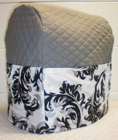Silver Gray Quilted w/Silver & Black Swirl Cover for Sunbeam Heritage Series 4.6qt Mixmaster Stand Mixer w/6 Pockets
