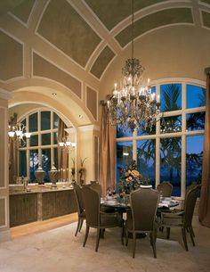 Formal dining, love the arched ceiling & built in buffet with reflecting mirror...gorgeous with a slight color change