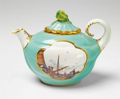 Meißen, Ca. 1740 - 45, painted in the manner of Christian A Meissen porcelain teapot formed as a pumpkin, Auction 1075 Lot 588