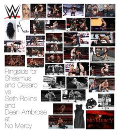 """""""Ringside for Sheamus and Cesaro vs Seth Rollins and Dean Ambrose at No Mercy"""" by wwediva72 ❤ liked on Polyvore featuring beauty, WWE, Pierre Balmain and Yves Saint Laurent"""