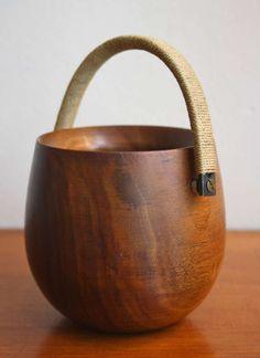 Walnut, Brass and Twine Bowl   Carl Auböck   1950s