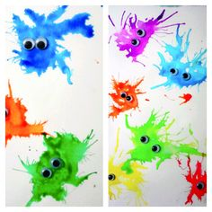 That's So Cuegly: Monster Straw Painting Paint water googly eyes paper