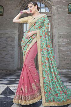 Superb Blush Pink and Mint Green Saree