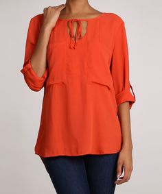 Rust V-Neck Top by Timing
