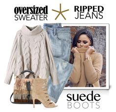 """Perfect Combination.... Oversized Sweater, Ripped Jeans, & Suede Boots"" by conch-lady ❤ liked on Polyvore featuring moda, Wrap, Chloé y Joie"