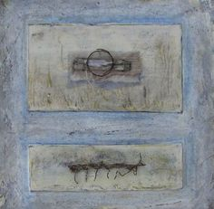 tangled blue - encaustic/mixed media painting by roxanne evans stout and seth apter