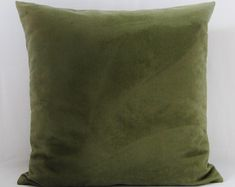 Olive Green Sage Suede Pillow Cover Decorative by GigglesOfDelight Green Pillow Covers, Green Throw Pillows, Throw Pillow Covers, Green Suede, Green Velvet, Handmade Pillow Covers, Velvet Cushions, Suede Fabric, Pillow Forms