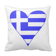 Lovely thriw pillow, designed by your Thea...er, @auntieshoe, Shows a funky Greek Flag heart for fun and love of Greece! Perfect for Oxi Day (ohi or ochi, too) celebrations, or anytime you want to show love and pride in your heritage, ancestry and culture. great for travelers who enjoyed their holiday or vacation, too. See more products with this design at http://www.zazzle.com/greekflaggear?rf=238656250999501047 Yiasou #AuntieShoe