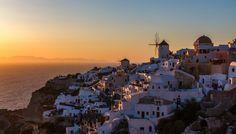 Greece. Santorini island. Sunset. Santorini Sunset, Santorini Island, Antarctica, Middle East, South America, Places To Visit, Asia, Around The Worlds, Europe