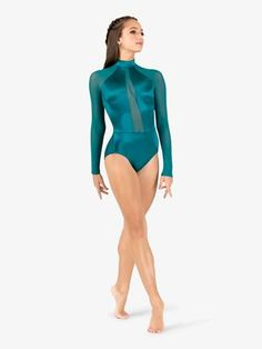 44f2a1ce56 Adult Long Sleeve Leotard with Lace Sleeve and Insert