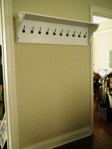 shelf with hooks - hubby can make this