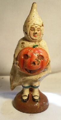 OLD-VINTAGE-CAST-IRON-HALLOWEEN-GHOST-GIRL-COIN-BANK-PUMPKIN-TREAT-SACK