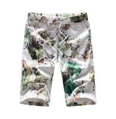 Luxury Art White Green Beige Floral Print Drawstring Shorts