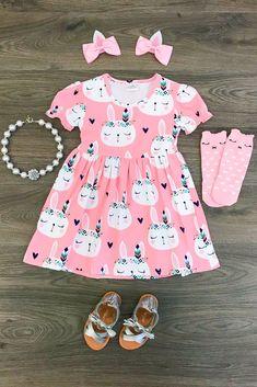 Pink Sleeping Bunny Dress