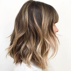 Sun kissed lob, with bangs. Love. Cut/styled by @styledbylizsustaita