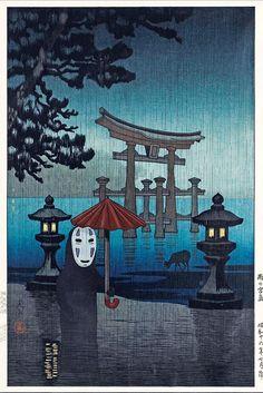 Spirited Away No Face, Studio Ghibli and Rain at Miyajima, Japanese old painting mashup - high quality canvas print Mononoke Forest, Spirited Away Wallpaper, Rain Painting, Studio Ghibli Art, Aesthetic Japan, Thing 1, Old Paintings, Cute Cartoon Wallpapers, Old Art