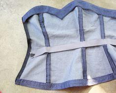 Corset Sewing Pattern, Vintage Sewing Patterns, Pattern Drafting, Fashion Sewing, Denim Fashion, Denim Wedding, Denim Corset, Sewing Lingerie, Couture Sewing
