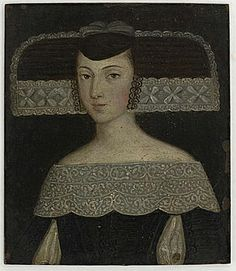 Miniature portrait of a young lady by an unknown Spanish artist (1650) what is this head thingggg