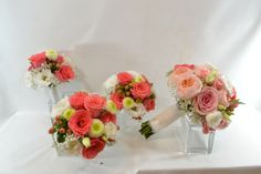 Bridal Bouquet of blush, white to coral colour work beautifully as a classic or contemporary choice. www.plushflowers.ca