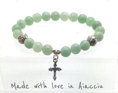 bracelet  perles Jade et croix par madewithloveinaiaciu sur Etsy