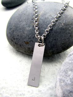 Stainless Steel Men's Necklace Customizable Initial Necklace Personalized Monogram Necklace