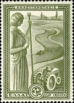 Greece Marshall Plan - Reconstruction May 1951 One of the six stamps portrays agricultural reconstruction. The designs shows two tractors working in the field under the watch of Goddess Demeter. Vintage Labels, Vintage Posters, Art Posters, Important Inventions, Postage Stamp Art, Principles Of Design, Greek Art, Mail Art, Stamp Collecting