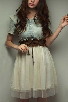 Denim dress mesh skirt