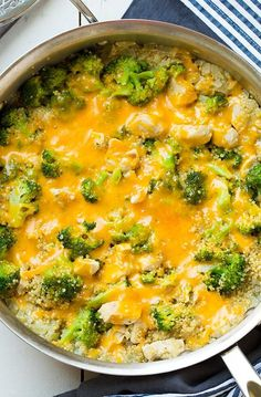 One Pan Cheesy Chicken Broccoli and Quinoa | Cooking Classy