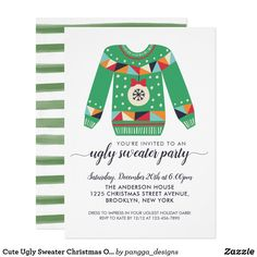 Cute Ugly Sweater Christmas Ornament Holiday Party Invitation Holiday Parties, Holiday Fun, Holiday Cards, Ugly Sweater Party, Ugly Christmas Sweater, Holiday Party Invitations, Word Out, Xmas Ornaments, Youre Invited