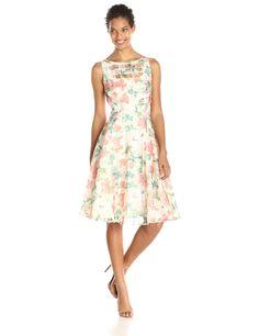 Sleeveless Floral Printed Full Skirt Dress by Julian Taylor