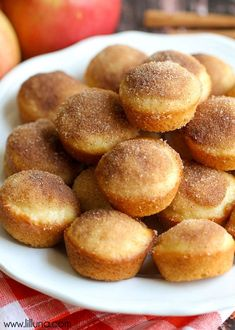 These Mini Applesauce Muffins are the perfect snack for the whole family! Deliciously moist muffins filled with applesauce, and dipped in an irresistible cinnamon sugar topping. Although this recipe… Apple Recipes, Baking Recipes, Dessert Recipes, Yummy Recipes, Free Recipes, Yummy Treats, Delicious Desserts, Yummy Food, Applesauce Muffins