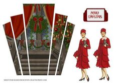 art deco panels with lady christmas on Craftsuprint designed by Maxine Gathercole - art deco panels with a chritmas scene and lady to decoupagethere are various ways to use these panels,mount them onto card of your choice and cut around leaving a border then mount onto an A6 card or just mount panels onto front on an A5 card or even on an easel card or stepper cardd lady to decoupage. - Now available for download!