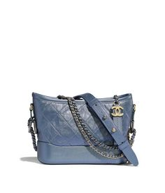 f98439753cff CHANEL'S GABRIELLE Small Hobo Bag, iridescent aged calfskin, gold-tone &  silver-tone metal, blue - CHANEL