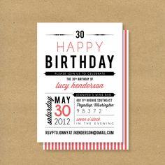 Adult or Child Birthday Invitation // Fonts. $16.00, via Etsy.