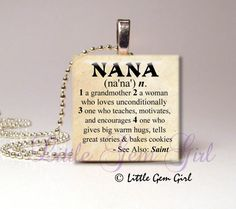 """Nana Necklace Pendant Dictionary Definition - Antique Paper or White on Black 1""""x1""""  Wood Tile Necklace Pendant - Mothers Day Nana Jewelry on Etsy, $8.00"""