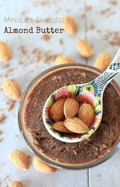 Low in sugar, and packed with nutrition and intense chocolaty cinnamon goodness, this Mexican Chocolate Almond Butter is super easy to make, and a lot more economical than store bought nut butters. {gluten-free, vegan, low sugar, low carb, Paleo} A perfect healthy breakfast recipe!