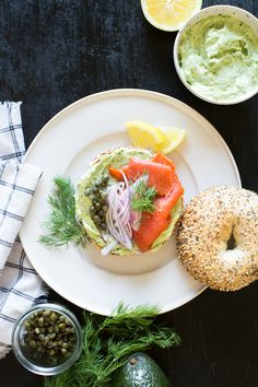 Bagels with Smoked Salmon and Herbed Avocado Spread