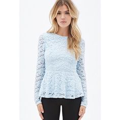 Forever 21 blue lace blouse This color is absolutely stunning. I LOVEEE this blouse!!! Love 21 brand Forever 21 Tops Blouses